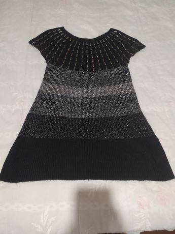 Vestido preto e cinza