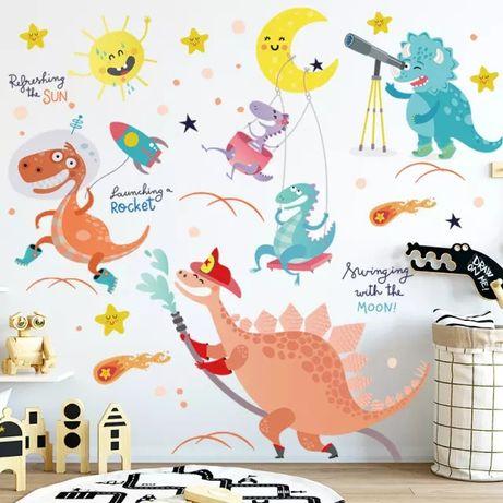 Детская виниловая интерьерная наклейка на стену Динозавры