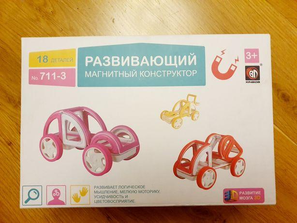 Магнитный конструктор, 18 деталей на магнита (розовая машинка)