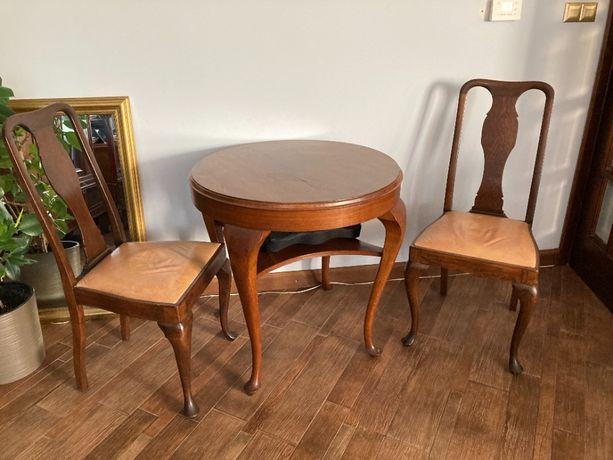 Komplet zabytkowy stół + 2 krzesła