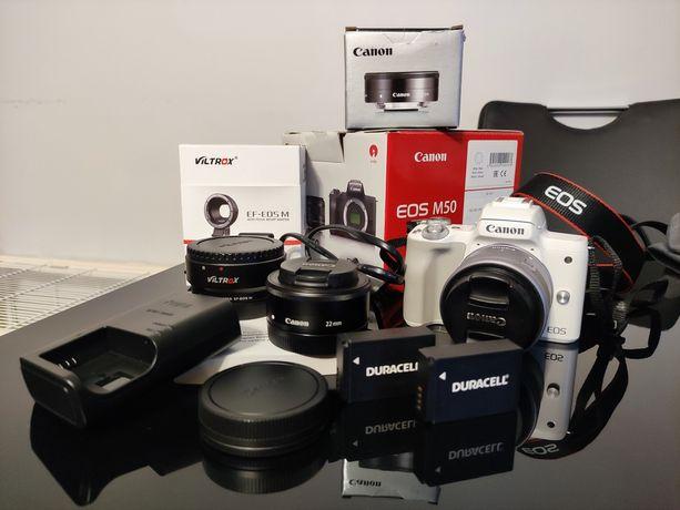 Canon M50 + 15-45 + 22 + adapter Viltrox EF, EF-S + 2 baterie + torba