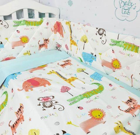 Бортики защитные для кроватки, двухсторонние.