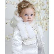 Choupette.Куртка пуховая с декором из меха и кружева, белая.