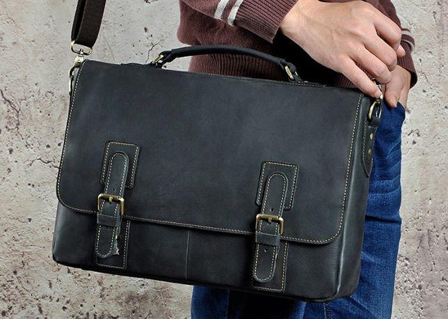 Мужской кожаный портфель-сумка из натуральной кожи. Ручная работа