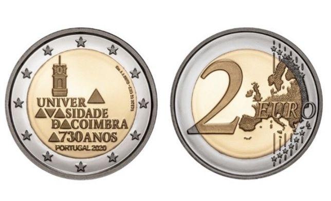 Moeda 2 Euro 730 Anos da Universidade de Coimbra Portugal 2020