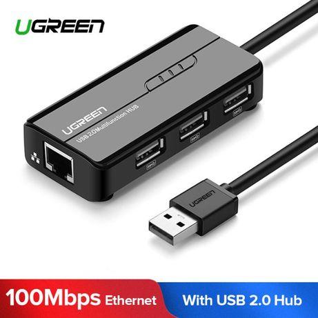 Ugreen 2 в 1 USB 2.0 хаб+адаптер Ethernet LAN RJ45 для Mi Box 3/S