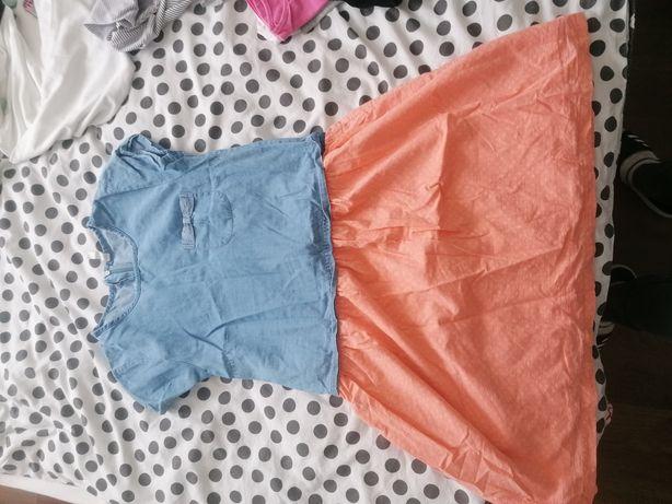 Sukienka jeansowa łososiowa