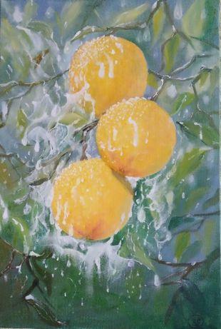"""Картина маслом """"Апельсины под дождем"""" /свободная копия/, 60х40"""