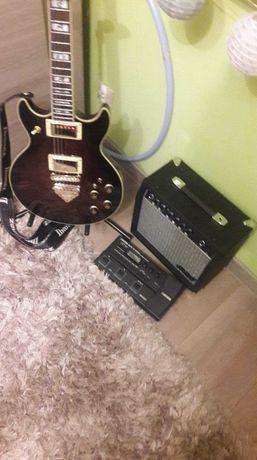 Gitara elektryczna Ibanez + piecyk, gratis pełne okablowanie