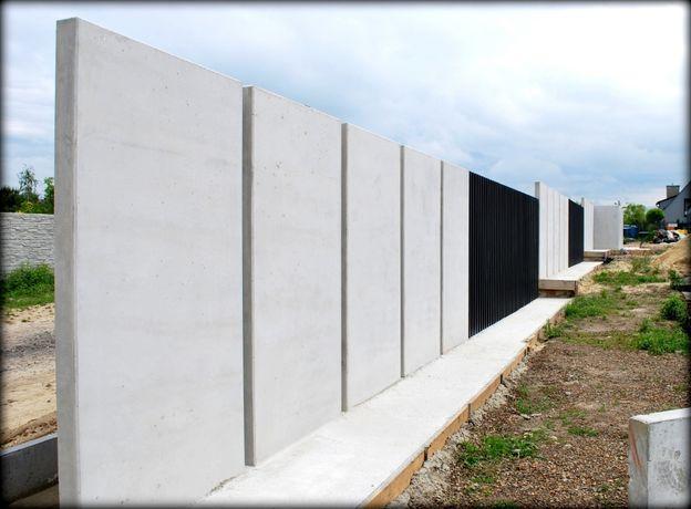Ścianki / mury oporowe ogrodzeniowe / nowoczesne ogrodzenie betonowe