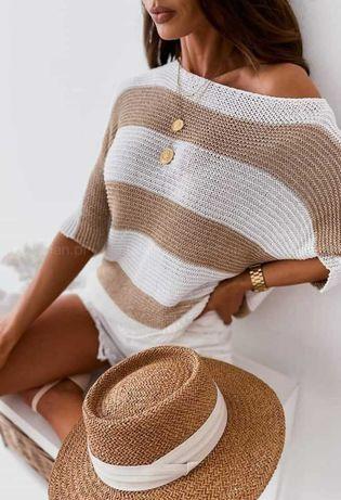 NOWY Sweterek ażurkowy złoty