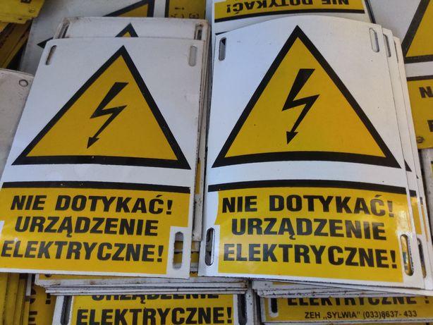Tabliczka - nie dotykać urządzenie elektryczne na taśmę