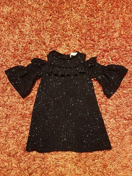 PORTES GRÁTIS - Vestido de Festa Preto Brilhante Zara (6Anos)