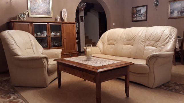 Ekskluzywny i elegancki skórzany koplet wypoczynkowy. Sofa + 2x fotel