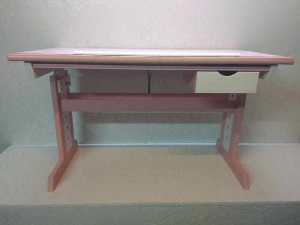 Biurko dziecięce CECILIA różowo-białe z szufladką