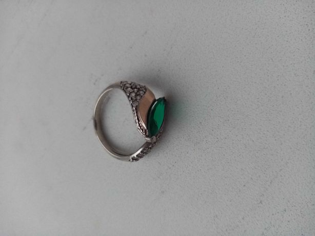 Кольцо серебро с позолотой + камень