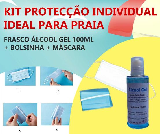 Kit Álcool Gel + Bolsinha Máscara Descartável - PROMO VERÃO!