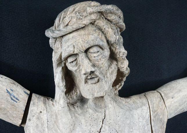 Jezus ukrzyżowany krzyż rzeźba duża XVIIIw 149cm zabytkowa