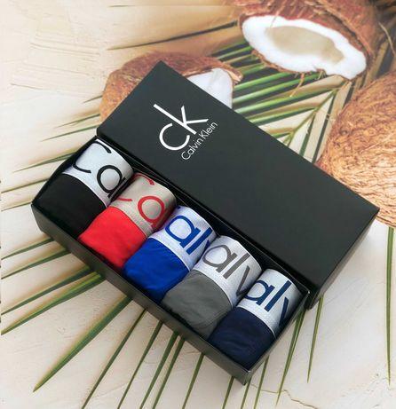 Мягкие из бамбука мужские трусы боксеры Кельвин Клейн 5 шт+ коробочкой