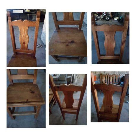 8 cadeiras de madeira maciça