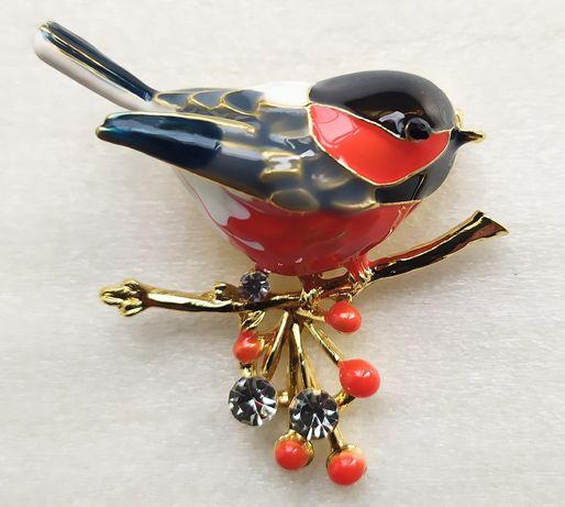 Брошка пташка кольорова червона