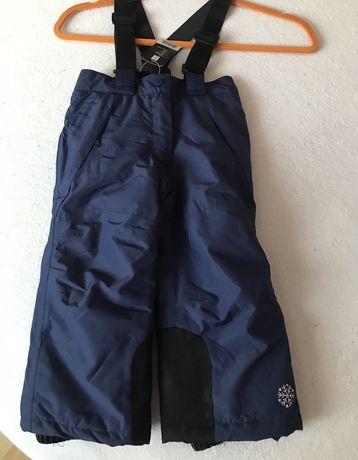 Spodnie zimowe ocieplane narciarskie granat 86/92