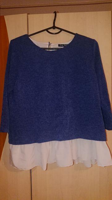 Sweterek damski z wstawką koszulowa