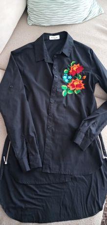 Koszula tunika czarna zipy haft dłuższy tył