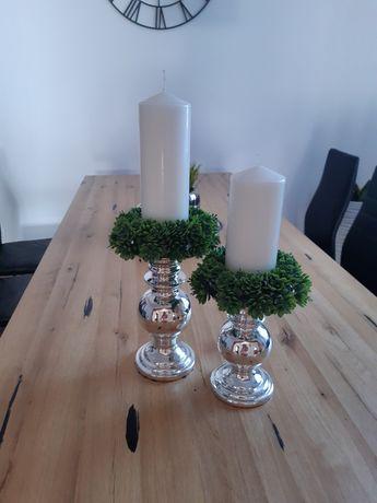 2 świeczniki ceramiczne srebrne