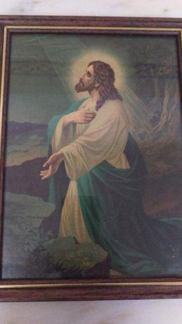 Arte Sacra - Quadro antigo de Cristo
