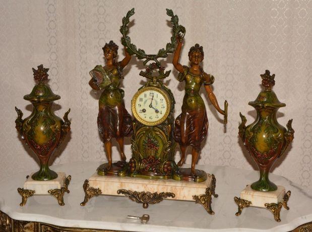 Relógio figural antigo França com vasos ano 1880