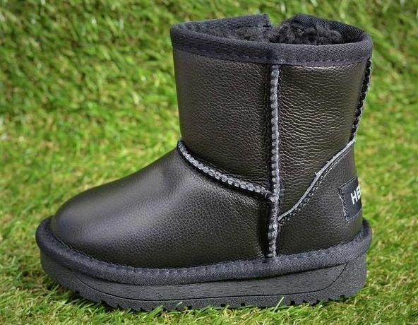 Зимние детские сапоги Ugg угги замшевые кожаные черные р23-37