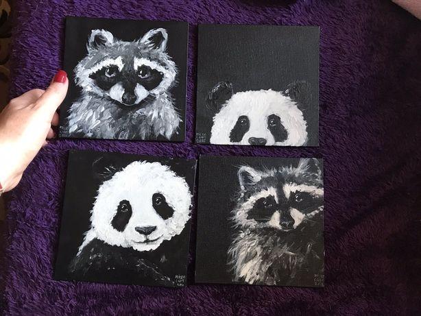 Картина маслом Енот и Панда