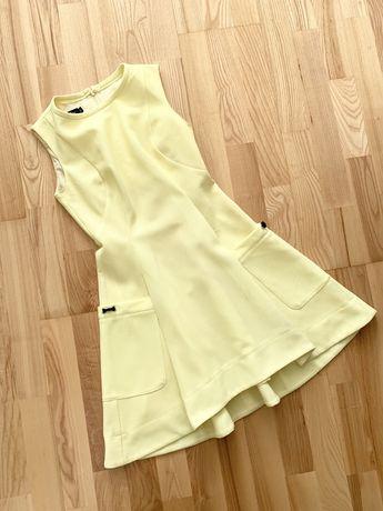 Sukienka rozkloszowana cytrynowa pastelowa xs