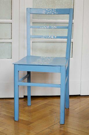 Krzesło drewniane ręcznie malowane