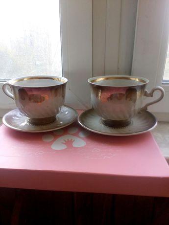 Подарочный набор 2 большие чашки 500 мл с блюдцем позолота