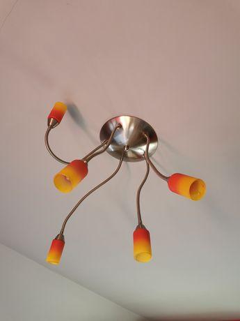 Lampa sufitowa metal żółto - Czerwone klosze