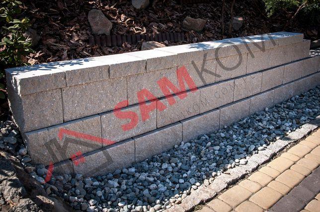 Pustak oporowy skarpowy mur murek ogrodowy łupany prosty gazon szary
