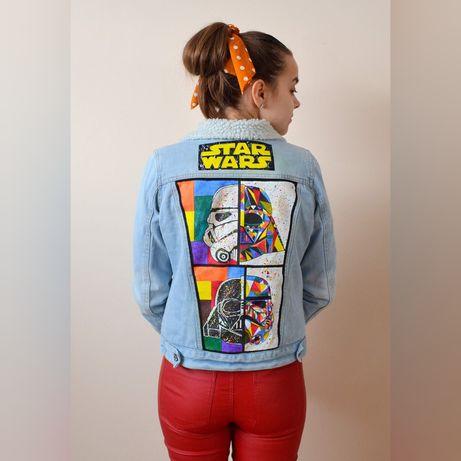 Ręcznie malowana kurtka jeansowa ogrzewana, custom, Star Wars