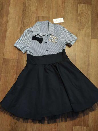 Шикарное школьное платье с полу-пышной юбкой. 140-146р Сукня, плаття