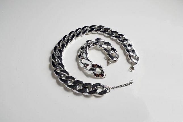 srebrny zestaw naszyjnik + bransoletka łańcuchy łańcuchowe srebro