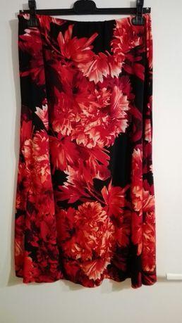 Nowa! Piękna spódnica czerono-czarna, midi, r.42-44
