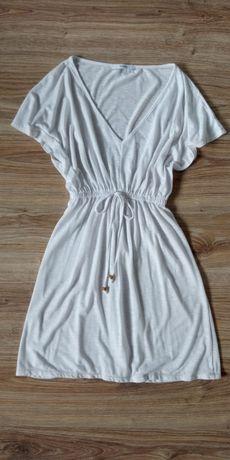 Sukienka biała wiązana luźna lato do kolana S plażowa