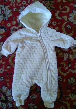 Детский плюшевый комбинезон для новорожденных с капюшоном Бемби 62 см