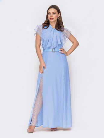 """Блакитне плаття з коміром-аскот і рукавом """"крильце"""""""