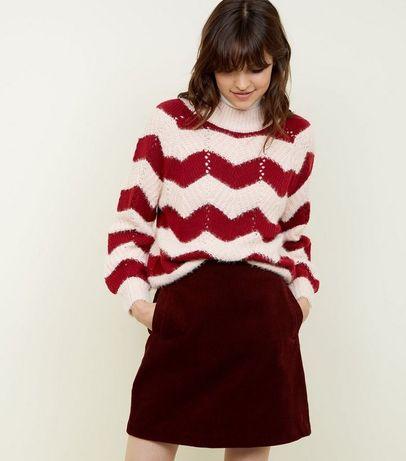 Вельветовая юбка трапеция бордового цвета New look
