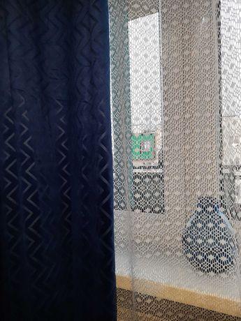 2 szt. Zaslony velvet granatowe 140x250 kółka