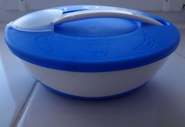 Тарелка-миска с удобной ручкой, крышкой и ложкой Canpol Babies