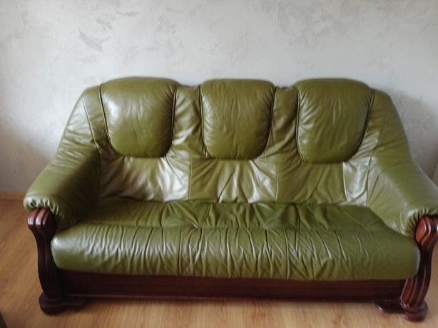 Skórzana sofa + 2 fotele Stelaż dąb