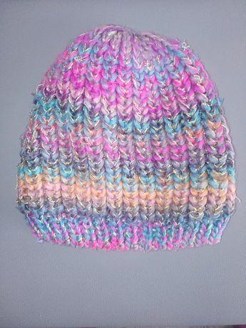 RESERVED czapka zimowa ocieplana TĘCZOWA
